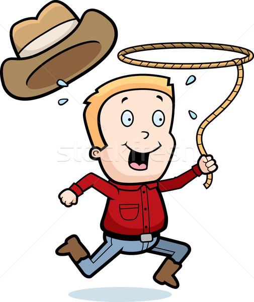 Rodeo erkek mutlu karikatür kovboy halat Stok fotoğraf © cthoman