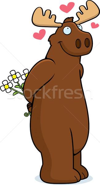 Eland liefde gelukkig cartoon bloemen Stockfoto © cthoman