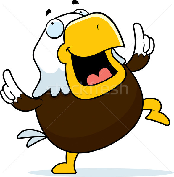 Chauve aigle danse heureux cartoon souriant Photo stock © cthoman