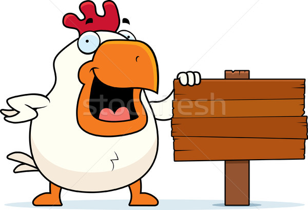 Cartoon Rooster Sign Stock photo © cthoman