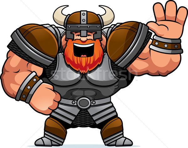 Cartoon Viking Waving Stock photo © cthoman