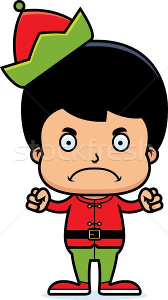 Cartoon boos kerstmis elf jongen naar Stockfoto © cthoman