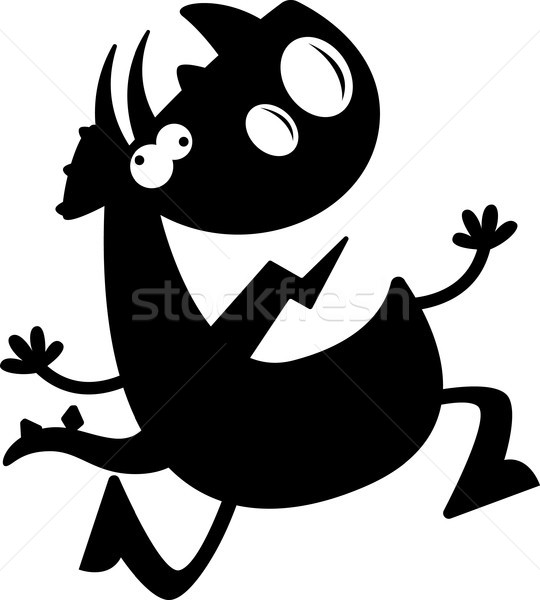 Cartoon Triceratops Silhouette Crazy Stock photo © cthoman