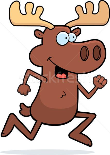 Alce corrida feliz desenho animado sorridente Foto stock © cthoman