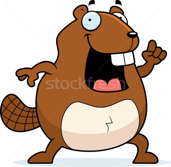 Kunduz fikir mutlu karikatür Stok fotoğraf © cthoman