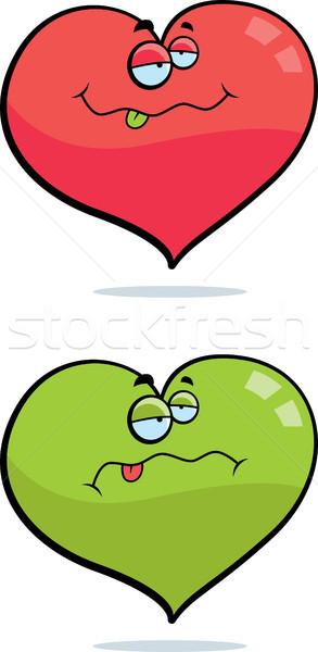 Amor enfermos Cartoon corazón verde rosa Foto stock © cthoman