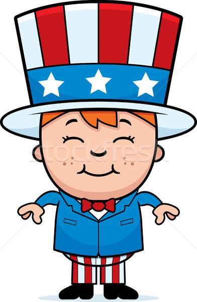 Hazafias gyerek boldog rajz fiú jelmez Stock fotó © cthoman