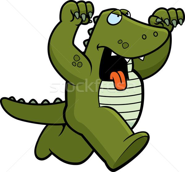 Cartoon aligator na zewnątrz zwierząt zły Zdjęcia stock © cthoman