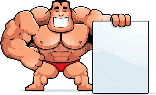 Cartoon bodybuilder teken illustratie mannen persoon Stockfoto © cthoman