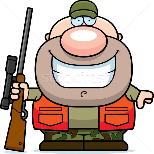 Rajz vadász mosolyog illusztráció boldog fegyver Stock fotó © cthoman
