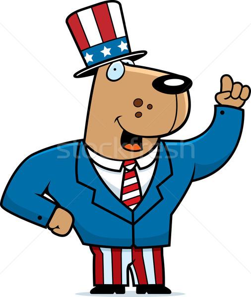 Vaderlandslievend hond gelukkig cartoon pak glimlachend Stockfoto © cthoman