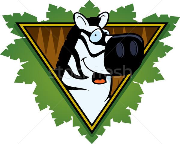 Zebra safari ikon mutlu karikatür yaprakları Stok fotoğraf © cthoman