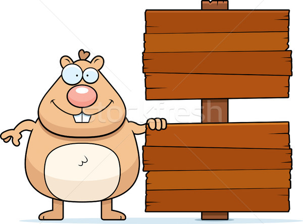 Cartoon Hamster Sign Stock photo © cthoman
