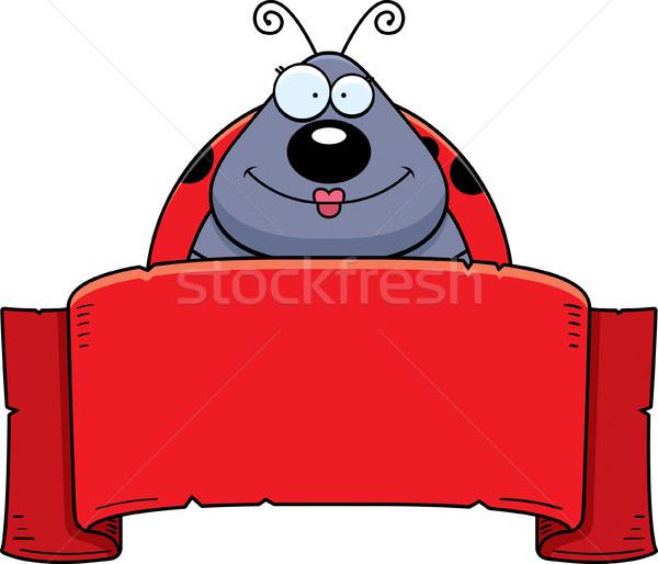 Desenho animado joaninha bandeira ilustração animal sorridente Foto stock © cthoman