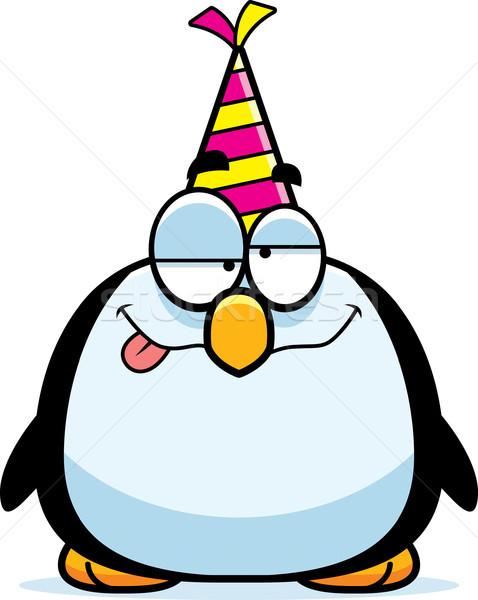 Cartoon pinguin dronken partij illustratie hoed Stockfoto © cthoman