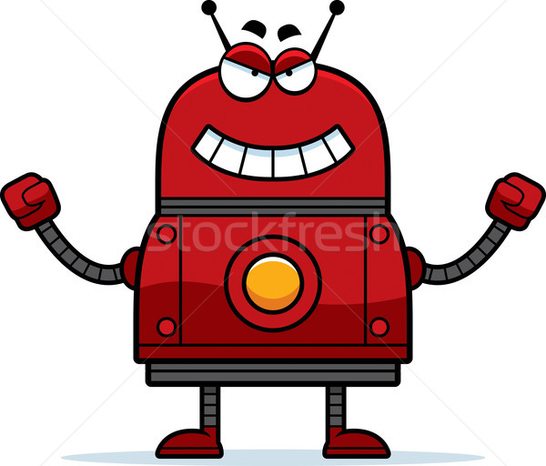 Mal rouge robot cartoon illustration regarder Photo stock © cthoman