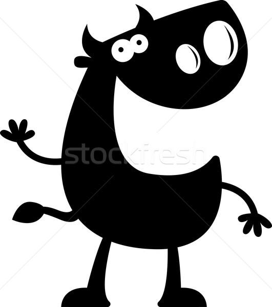 Cartoon Bull silhouette heureux vague Photo stock © cthoman