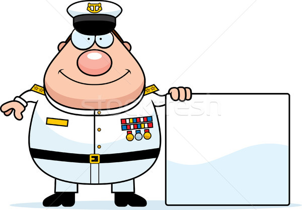 Cartoon Navy Admiral Sign Stock photo © cthoman