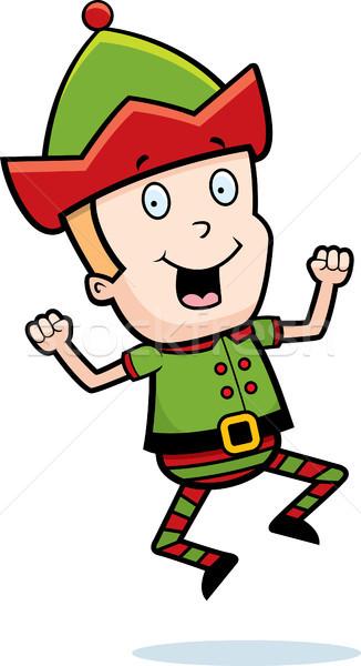Elf sautant heureux cartoon Noël souriant Photo stock © cthoman