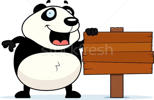 Panda podpisania szczęśliwy cartoon stałego ponosi Zdjęcia stock © cthoman