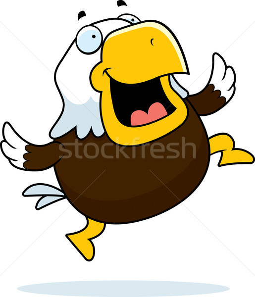 Calvo águila saltar feliz Cartoon sonriendo Foto stock © cthoman