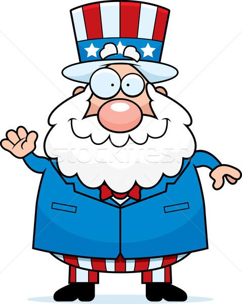 Cartoon vaderlandslievend man illustratie glimlachend Stockfoto © cthoman