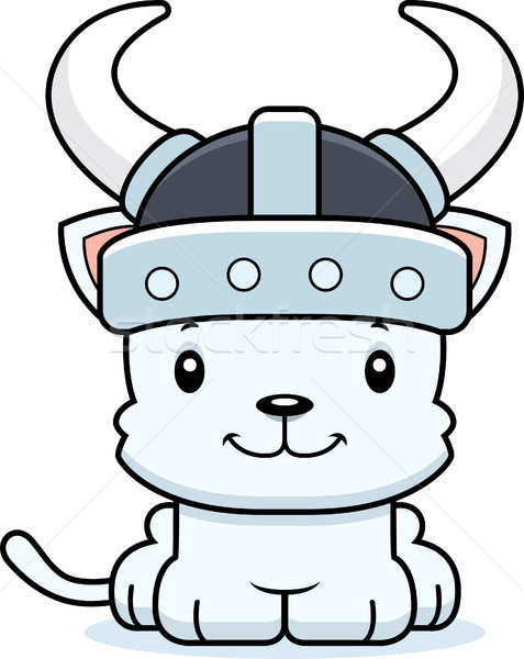 Cartoon Smiling Viking Kitten Stock photo © cthoman