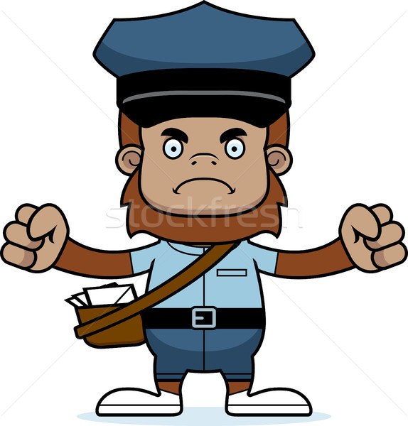 Cartoon Angry Mail Carrier Sasquatch Stock photo © cthoman