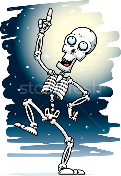 Cartoon Skeleton Dancing Moonlight Stock photo © cthoman