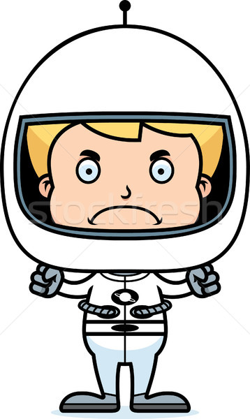 Cartoon сердиться астронавт мальчика глядя шлема Сток-фото © cthoman