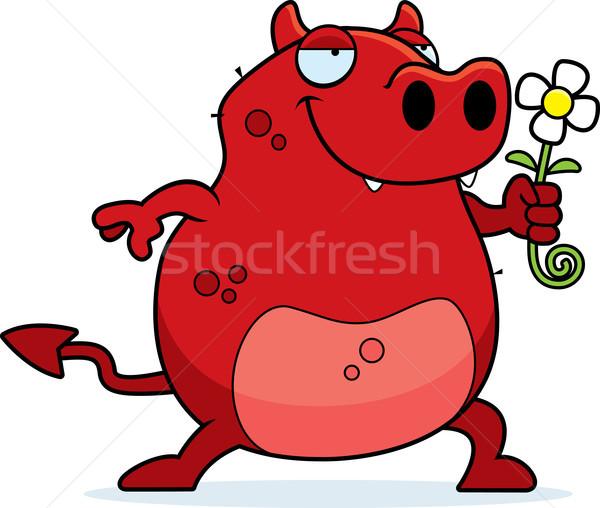 Diavolo fiore felice cartoon amore rosso Foto d'archivio © cthoman