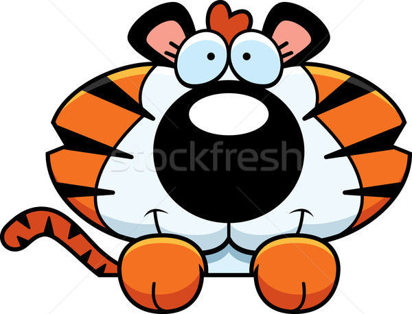 Desenho animado tigre ilustração jovem animal Foto stock © cthoman