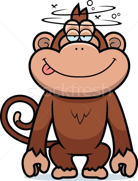Desenho animado estúpido macaco ilustração feliz animal Foto stock © cthoman