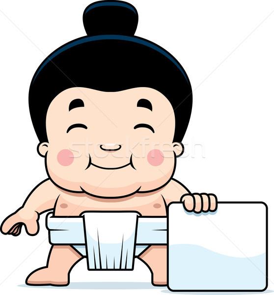 Cartoon Sumo Boy Sign Stock photo © cthoman