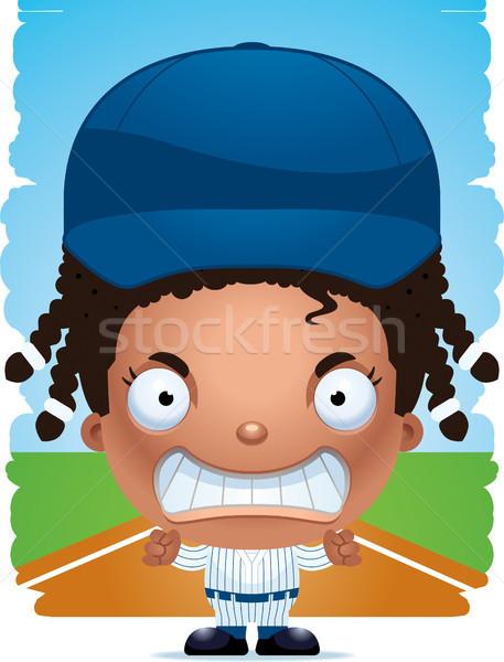 Zangado desenho animado menina jogador de beisebol ilustração crianças Foto stock © cthoman