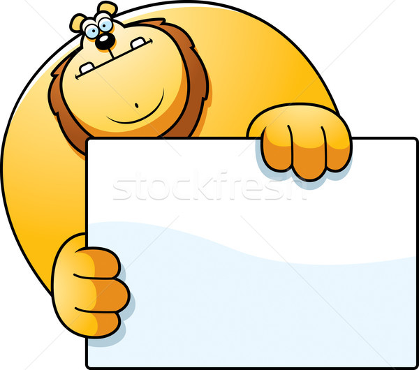 Rajz oroszlán rejtőzködik illusztráció mögött felirat Stock fotó © cthoman