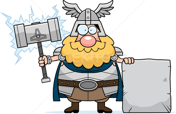 Cartoon Thor Sign Stock photo © cthoman