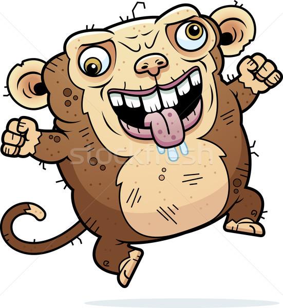 Crazy brutto scimmia cartoon illustrazione guardando Foto d'archivio © cthoman