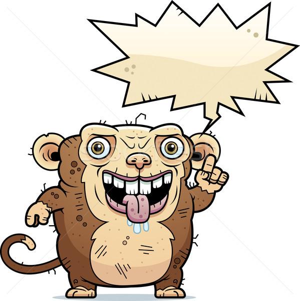 Lelijk aap praten cartoon illustratie dier Stockfoto © cthoman