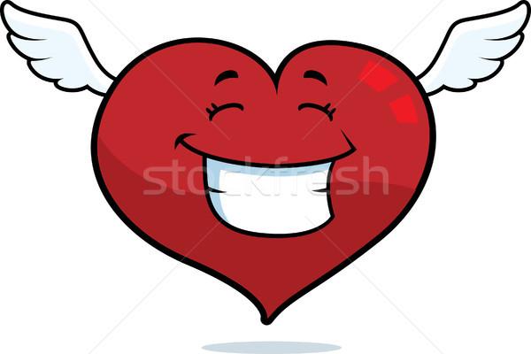 Сток-фото: Flying · сердце · Cartoon · улыбаясь · счастливым · любви