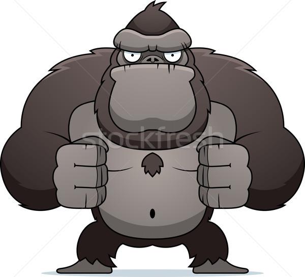 Arrabbiato gorilla cartoon forte Foto d'archivio © cthoman