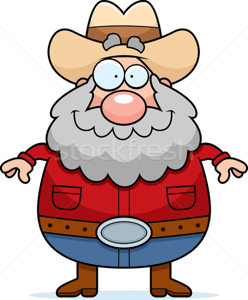 Glimlachend gelukkig cartoon permanente cowboy hoed Stockfoto © cthoman