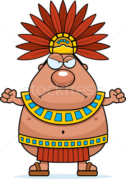 Angry Cartoon Aztec King Stock photo © cthoman