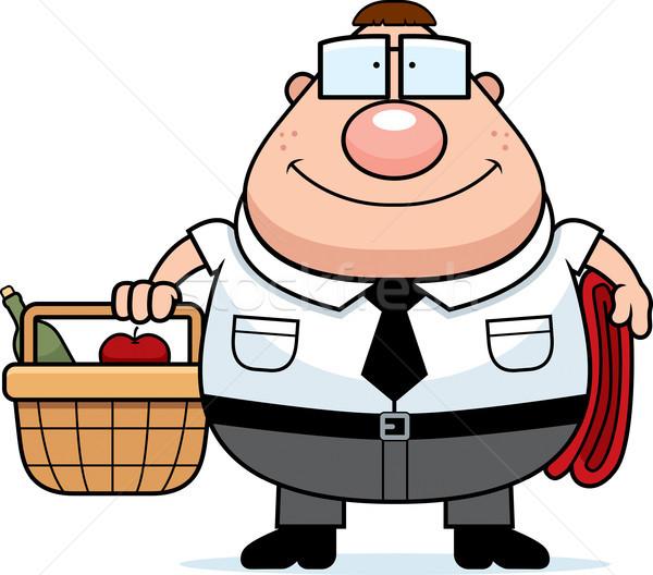 Nerd Picknick glücklich Karikatur Picknick-Korb Mann Stock foto © cthoman