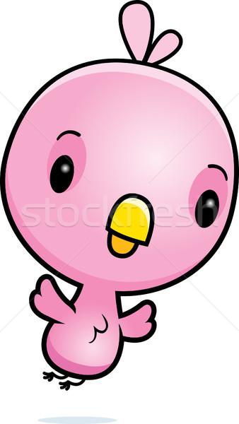 Cartoon Pink Bird Flying Stock photo © cthoman