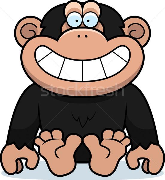 Rajz csimpánz ül illusztráció mosolyog vektor Stock fotó © cthoman