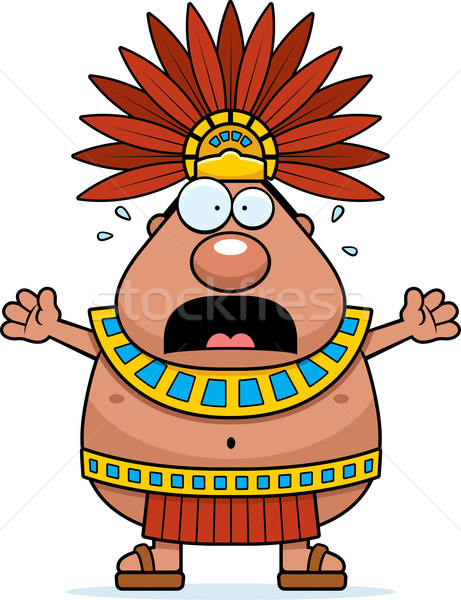 Scared Cartoon Aztec King Stock photo © cthoman
