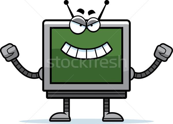 Zło monitor komputerowy cartoon ilustracja patrząc robot Zdjęcia stock © cthoman