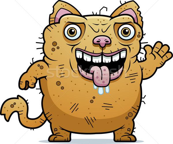 Csúnya macska integet rajz illusztráció állat Stock fotó © cthoman