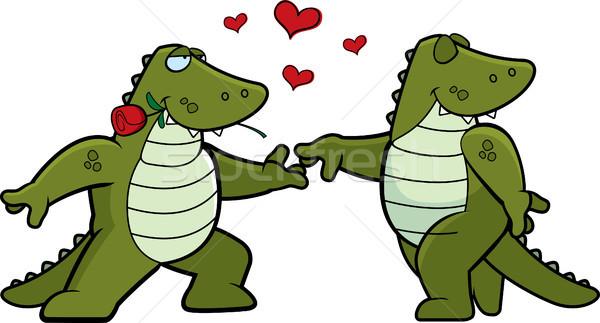 Aligátor románc kettő rajz alligátorok szeretet Stock fotó © cthoman